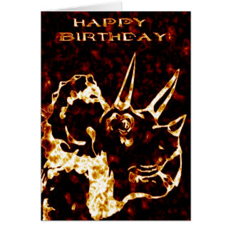 Firey Triceratops Birthday Card