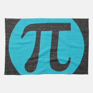 First 10,000 digits of Pi, blue on black Hand Towel