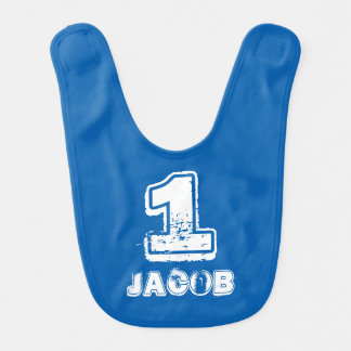 First 1st Birthday baby bib for one year old boy