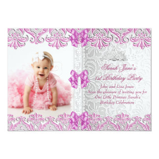 First 1st Birthday Girls Lilac Pink Photo 13 Cm X 18 Cm Invitation Card