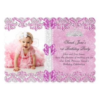 First 1st Birthday Girls Lilac Pink Photo Tiara 13 Cm X 18 Cm Invitation Card