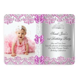 First 1st Birthday Girls Lilac Pink Photo Tiara Si 13 Cm X 18 Cm Invitation Card