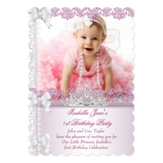First 1st Birthday Party Girl Princess Pink Photo Card