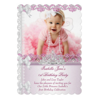 First 1st Birthday Party Girl Princess Pink Photo Personalized Invitation