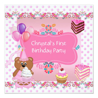 """First 1st Birthday Party Girls Pink Cute Cupcake 5.25"""" Square Invitation Card"""