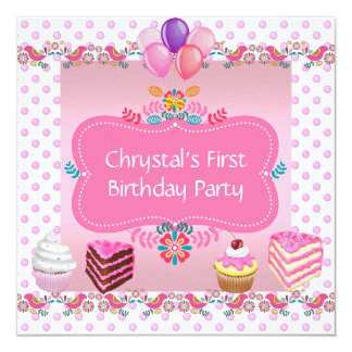 """First 1st Birthday Party Girls Pink Spots Cupcake 5.25"""" Square Invitation Card"""