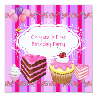 """First 1st Birthday Party Girls Pink Sweets Cupcake 5.25"""" Square Invitation Card"""