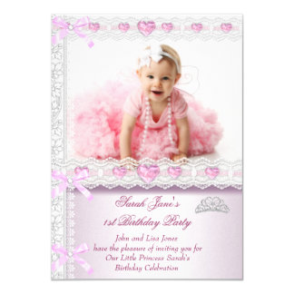 First 1st Birthday Party Girls Princess Pink Photo 11 Cm X 16 Cm Invitation Card