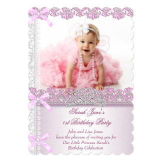 First 1st Birthday Party Girls Princess Pink Photo 13 Cm X 18 Cm Invitation Card