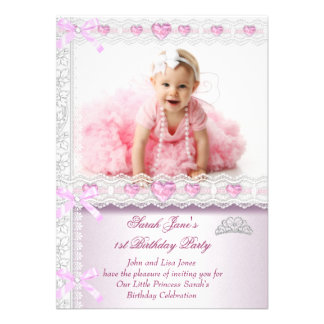 First 1st Birthday Party Girls Princess Pink Photo Personalized Invite