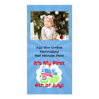 First 4th of July Colorful Blue Baby Photo Cards