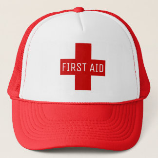 First Aid Red Medical Emergency Cross Trucker Hat