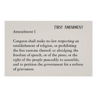 First Amendment Constitution Freedom of Speech Poster