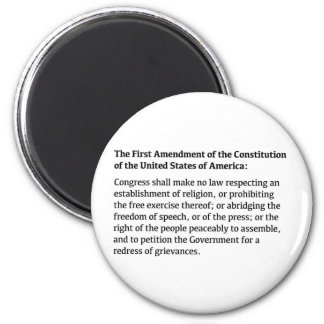 First Amendment of the Constitution 6 Cm Round Magnet
