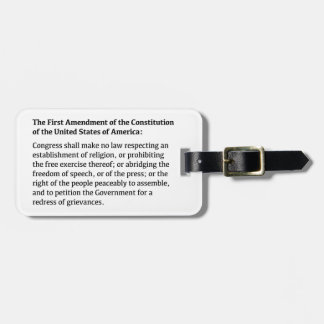 First Amendment of the Constitution Luggage Tag