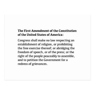 First Amendment of the Constitution Postcard
