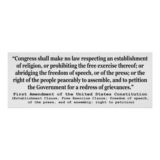 First Amendment of the United States Constitution Poster