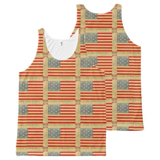 First American Flag Pattern Vintage Patriotic USA All-Over Print Singlet