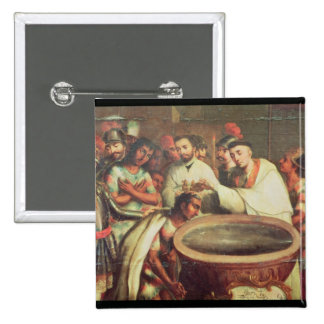First Baptism of the Indians by the Dominicans 15 Cm Square Badge