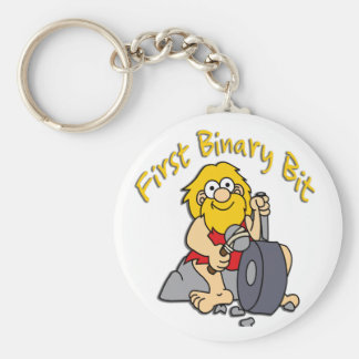 First Binary Bit Basic Round Button Keychain