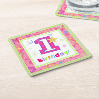 First Birthday 1 Square Paper Coaster