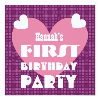First Birthday 1 Year Old Hearts and Pattern V02 13 Cm X 13 Cm Square Invitation Card