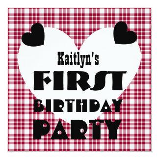 First Birthday 1 Year Old Hearts Maroon Plaid V04B 13 Cm X 13 Cm Square Invitation Card