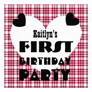First Birthday 1 Year Old Hearts Maroon Plaid V04B Personalized Announcement