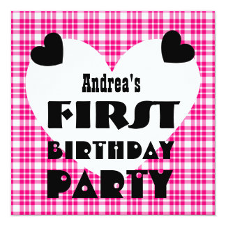 First Birthday 1 Year Old Hearts Pink Plaid V04 13 Cm X 13 Cm Square Invitation Card