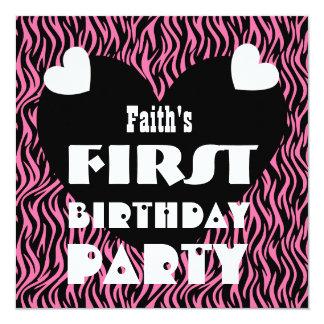 First Birthday 1 Year Old Hearts Pink Zebra V03 13 Cm X 13 Cm Square Invitation Card