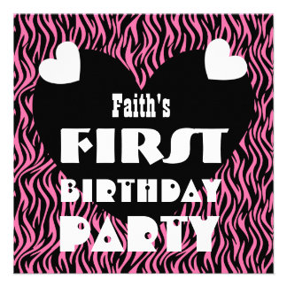 First Birthday 1 Year Old Hearts Pink Zebra V03 Custom Announcements