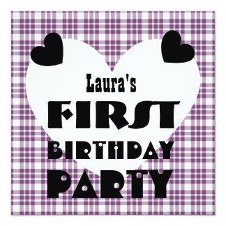 First Birthday 1 Year Old Hearts Purple Plaid V04A 13 Cm X 13 Cm Square Invitation Card