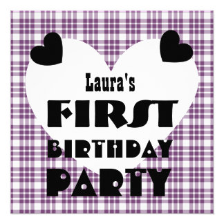 First Birthday 1 Year Old Hearts Purple Plaid V04A Invite