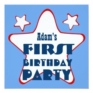 First Birthday 1 Year Old Stars V05 Blue Red 13 Cm X 13 Cm Square Invitation Card