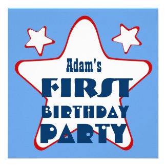 First Birthday 1 Year Old Stars V05 Blue Red Personalized Invitation