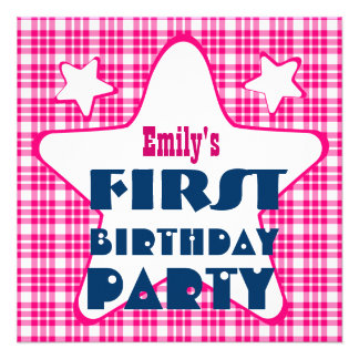 First Birthday 1 Year Old Stars V06A Blue Pink Personalized Announcement