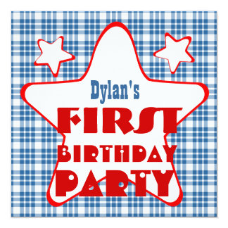 First Birthday 1 Year Old Stars V06D Blue Red 13 Cm X 13 Cm Square Invitation Card