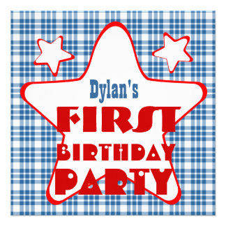 First Birthday 1 Year Old Stars V06D Blue Red Custom Announcement