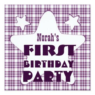First Birthday 1 Year Old Stars V06D Purple 13 Cm X 13 Cm Square Invitation Card