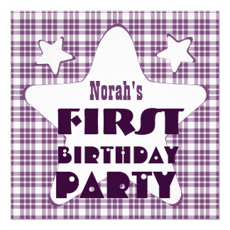 First Birthday 1 Year Old Stars V06D Purple Personalized Announcement