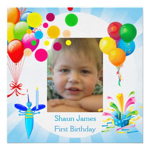First Birthday 1st Boy Blue Balloons Bug Custom Announcements