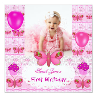 First Birthday 1st Girl Hot Pink Butterfly 13 Cm X 13 Cm Square Invitation Card