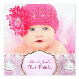 First Birthday 1st Girl Pretty Pink Cupcakes Baby 13 Cm X 13 Cm Square Invitation Card