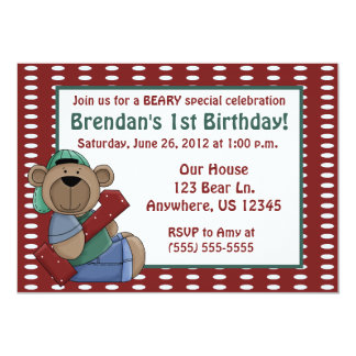 First Birthday Bear Boys Party Invitation