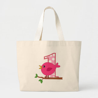 First Birthday Birdie Large Tote Bag
