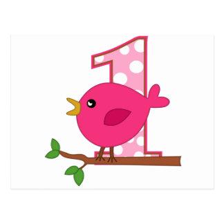 First Birthday Birdie Postcards