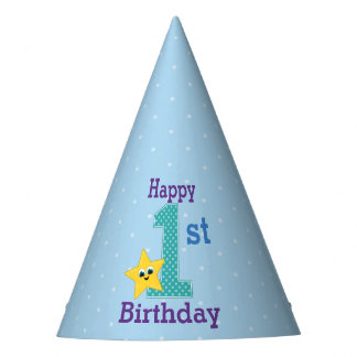 First Birthday Boy, Blue, Yellow Star Party Hat