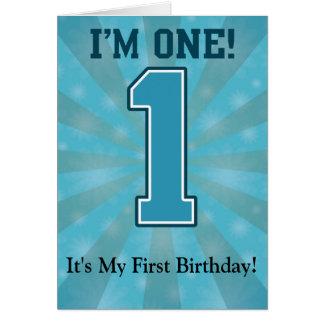 First Birthday Boy I m One Big Blue Number 1 Card