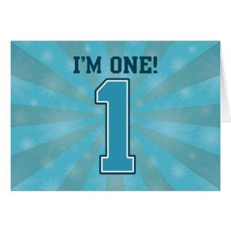 First Birthday Boy I m One Big Blue Number 1 Greeting Card