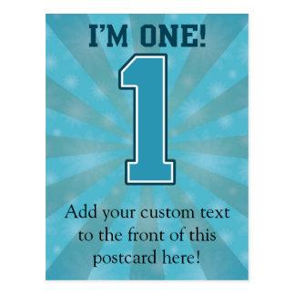 First Birthday Boy I m One Big Blue Number 1 Post Card